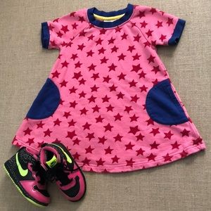 EUC Hanna Andersson Pink star sweatshirt dress 3T